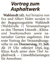 Vortragsreihe in der Begegnungsstätte Wahlstedt